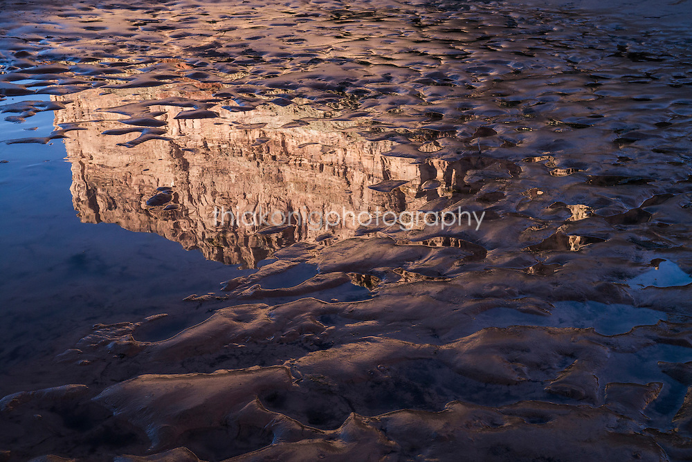Reflections of Grand Canyon in mud on banks of Colorado River, AZ