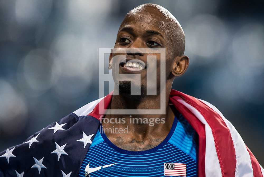 Jeff Henderson of the USA wins the Gold Medal in the Men's Long Jump on day eight of the XXXI 2016 Olympic Summer Games in Rio de Janeiro, Brazil.<br /> Picture by EXPA Pictures/Focus Images Ltd 07814482222<br /> 13/08/2016<br /> *** UK &amp; IRELAND ONLY ***<br /> <br /> EXPA-GRO-160814-5331.jpg