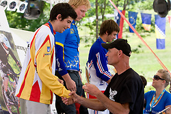 Second placed Iago Garay Tamayo  (ESP) of Junior Men category and Gorazd Strazisar at MTB Downhill European Championships, on June 14, 2009, at Kranjska Gora, Slovenia. (Photo by Vid Ponikvar / Sportida)