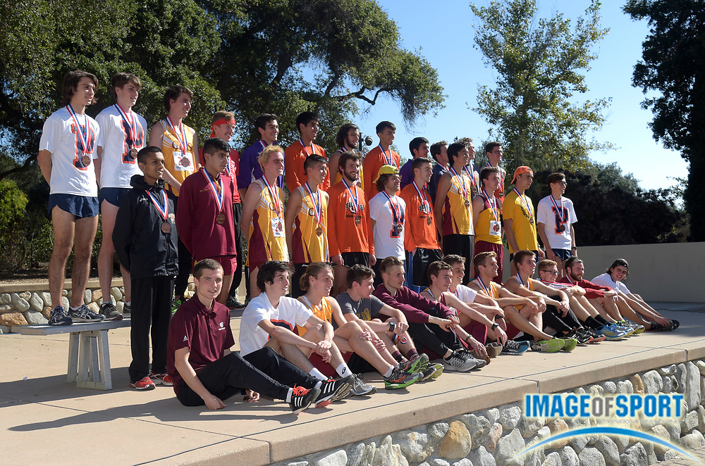 Nov 14, 2015; Claremont, CA, USA; The top mens finishers pose during the 2015 NCAA Division III West Regionals cross country championships at Pomona-Pitzer College. Tyler Shipley of Puget Sound won in 25:04.
