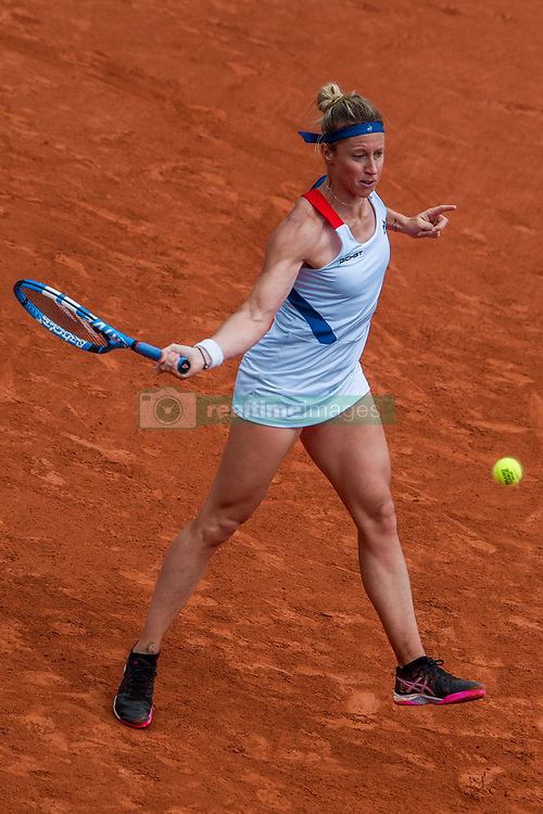 June 1, 2018 - Paris, Ile-de-France, France - Pauline Parmentier of France returns the ball to Caroline Wozniacki of Denmark during the third round at Roland Garros Grand Slam Tournament - Day 6 on June 01, 2018 in Paris, France. (Credit Image: © Robert Szaniszlo/NurPhoto via ZUMA Press)