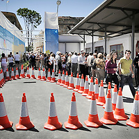 Nicosia, (Lefkosa) North Cyprus <br /> 19 April 2008 <br /> People wait for passport control in Lokmaci passage (Turkish side), after crossing the UN buffer zone (Green line) and checkpoint, in divided Nicosia. <br /> The Turkic Republic of Northern Cyprus (TRNC), commonly called Northern Cyprus, is a de facto independent republic located in the north of Cyprus. The TRNC declared its independence in 1983, nine years after a Greek Cypriot coup attempting to annex the island to Greece triggered an invasion by Turkey. It has received diplomatic recognition only from Turkey, on which it has become dependent for economic, political and military support. The rest of the international community, including the United Nations and European Union, recognises the sovereignty of the Republic of Cyprus over the territory of the TRNC.<br /> Photo: Ezequiel Scagnetti