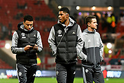 Marcus Rashford (19) of Manchester United on the pitch with Jesse Lingard (14) of Manchester United and Ander Herrera (21) of Manchester United on arrival before the EFL Cup match between Bristol City and Manchester United at Ashton Gate, Bristol, England on 20 December 2017. Photo by Graham Hunt.