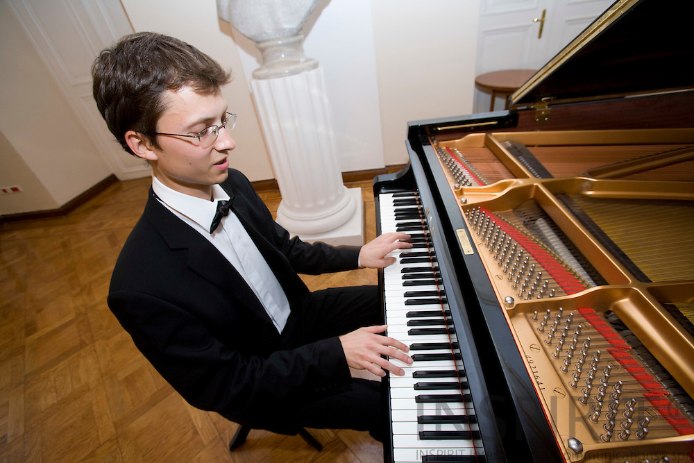 POZNAN - POLAND - 3 JUNE 2008 -- Piotr ZUKOWSKI, a rising star of Polish classical piano, plays at the White Hall of Poznan City Hall.  Photo: Erik Luntang/INSPIRIT Photo