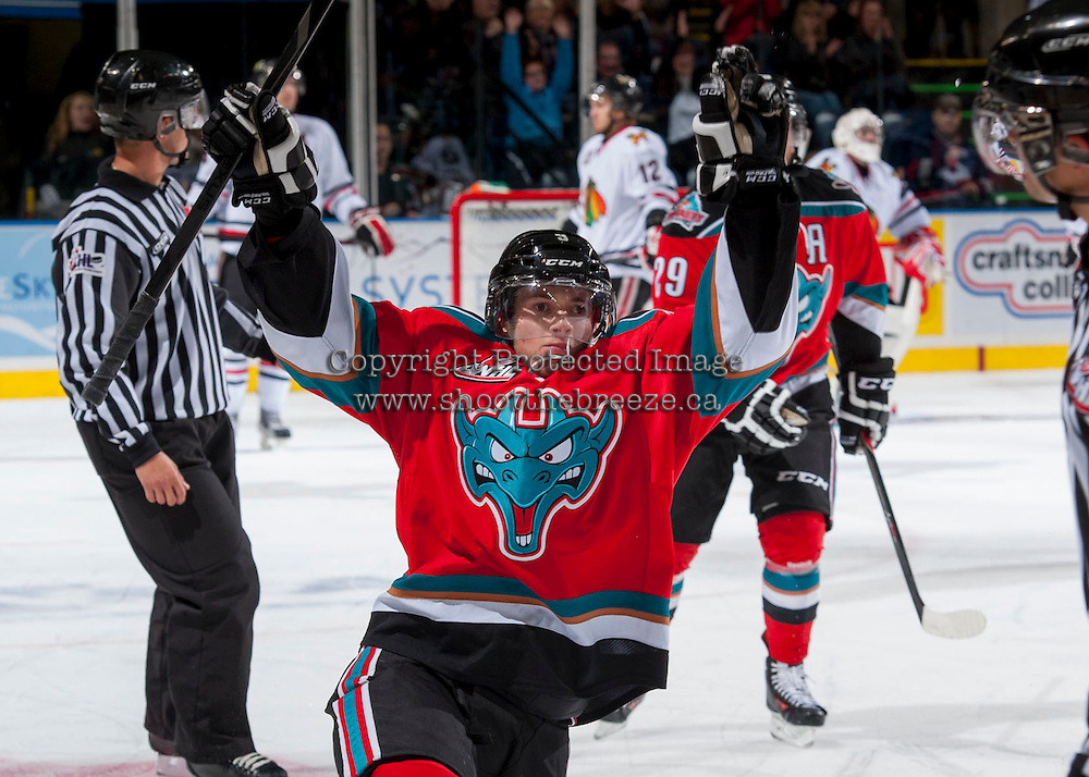 KELOWNA, CANADA - OCTOBER 5:  Riley Stadel #3 of the Kelowna Rockets celebrates a goal against the Portland Winterhawks  at the Kelowna Rockets on October 5, 2013 at Prospera Place in Kelowna, British Columbia, Canada (Photo by Marissa Baecker/Shoot the Breeze) *** Local Caption ***