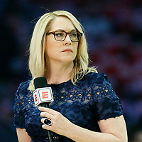 LOS ANGELES, CA - APR 26: ESPN journalist Doris Burke is seen during Game 6 of the Western Conference First Round on April 26, 2019 at the Staples Center, in Los Angeles, California.
