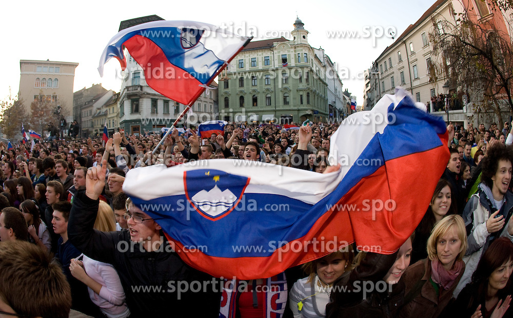 Reception of Slovenian National football team after they qualified for FIFA World Championships South Africa 2010, in Presernov trg, Ljubljana, Slovenia.   (Photo by Vid Ponikvar / Sportida)