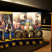 The trophies on display in the Museum at Boca Juniors football stadium, La Bombonera, in La Boca region of Buenos Aires, Argentina, 25th June 2010. Photo Tim Clayton...