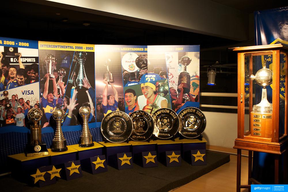 The trophies on display in the Museum at Boca Juniors football stadium, La Bombonera, in La Boca region of Buenos Aires, Argentina, 25th June 2010. Photo Tim Clayton...