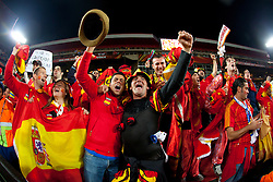 Fans of Spain celebrate after the  2010 FIFA World Cup South Africa Quarter Finals football match between Paraguay and Spain on July 03, 2010 at Ellis Park Stadium in Johannesburg. Spain defeated Paraguay 1-0. (Photo by Vid Ponikvar / Sportida)