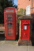 Traditional red telephone box and Royal Mail letter box, Woodbridge, Suffolk, England