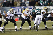 New Orleans Saints center Brian de la Puente (60) blocks during the NFL NFC Wild Card football game against the Philadelphia Eagles on Saturday, Jan. 4, 2014 in Philadelphia. The Saints won the game 26-24. ©Paul Anthony Spinelli