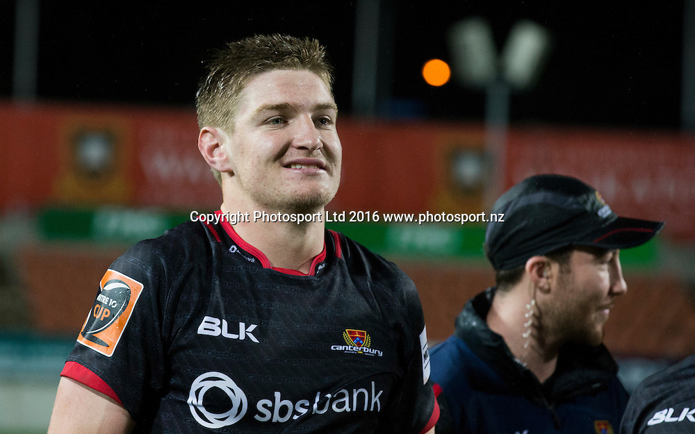 Canterbury's Jordie Barrett after the win. Waikato v Canterbury, Ranfurly Shield Challenge, Mitre10 Rugby Cup, FMG Stadium, Hamilton, New Zealand. Wednesday, 28 September, 2016. Copyright photo: John Cowpland / www.photosport.nz