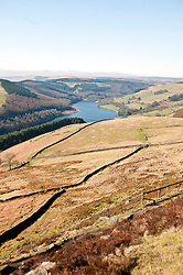 Ladybower Reservoir looking towards Howden Reservoir from Derwent Edge..http://www.pauldaviddrabble.co.uk.11 March 2012 .Image © Paul David Drabble