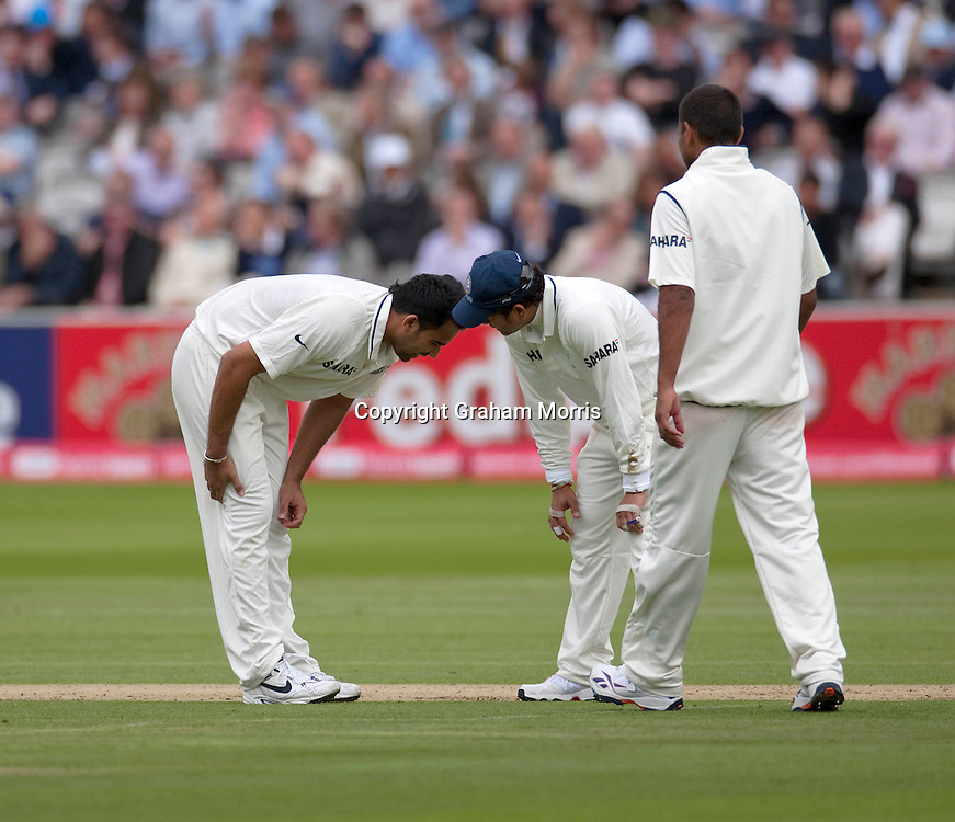 Bowler Zaheer Khan holding his hamstring before going off in the first npower Test Match between England and India at Lord's Cricket Ground, London.  Photo: Graham Morris (Tel: +44(0)20 8969 4192 Email: sales@cricketpix.com) 21/07/11