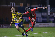 York City defender, on loan from Arsenal, Stefan OConnor tangles with Accrington Stanley midfielder Sean McConville  leading to Accrington Stanley forward Billy Kee  second goal  during the Sky Bet League 2 match between York City and Accrington Stanley at Bootham Crescent, York, England on 28 November 2015. Photo by Simon Davies.