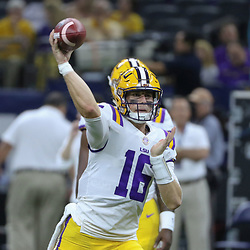 Sep 2, 2017; New Orleans, LA, USA; LSU Tigers quarterback Danny Etling (16) warms up before the AdvoCare Texas Kickoff game against the Brigham Young Cougars at the Mercedes-Benz Superdome. Mandatory Credit: Derick E. Hingle-USA TODAY Sports