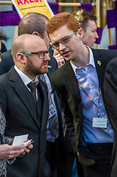 Pictured: Patrick Harvie and Ross Greer Scottish Green party<br /> University pensions row rally was held outside the Scottish Parliament in Edinburgh today. University staff were joined by politicians and students as part of the strike action event. <br /> <br /> Ger Harley | EEm 8 March 2018