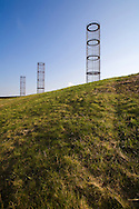 "DEU, Germany, North Rhine-Westphalia, Ruhr area, Bochum-Gerthe, installation art ""The three big men"" on top of a heap of the former coal mine Lothringen.....DEU, Deutschland, Nordrhein-Westfalen, Ruhrgebiet, Bochum-Gerthe, Installation ""Die drei grossen Herren"" auf einer Halde der ehemaligen Zeche Lothringen...[For each usage of my images the General Terms and Conditions are mandatory.]"