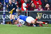 England player Jessica Breach scores the opening try of the game in the first half during the Women's 6 Nations match between England Women and France Women at the Keepmoat Stadium, Doncaster, England on 10 February 2019.
