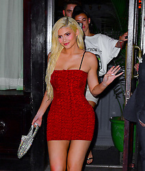 Kylie Jenner heads for dinner in red dress out to Carbone in New York. 20 Aug 2018 Pictured: Kylie Jenner. Photo credit: PC / MEGA TheMegaAgency.com +1 888 505 6342
