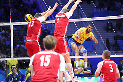 September 30, 2018 - Turin, Piedmont, Italy - Wallace De Souza of Brazil in action during the final match between Brazil and Poland for the FIVB Men's World Championship 2018 at Pala Alpitour in Turin, Italy, on 30 September 2018. Poland won 3: 0 and it is confirmed world champion. (Credit Image: © Massimiliano Ferraro/NurPhoto/ZUMA Press)