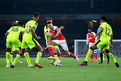 25 October 2016 - EFL Cup - 4th Round - Arsenal v Reading - Kieran Gibbs of Arsenal drives at the Reading defenders - Photo: Marc Atkins / Offside.