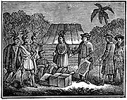 William Penn (1644-1718) English Quaker colonist, treating with Native Americans on the site of what is now Philadelphia. Woodcut, 1830