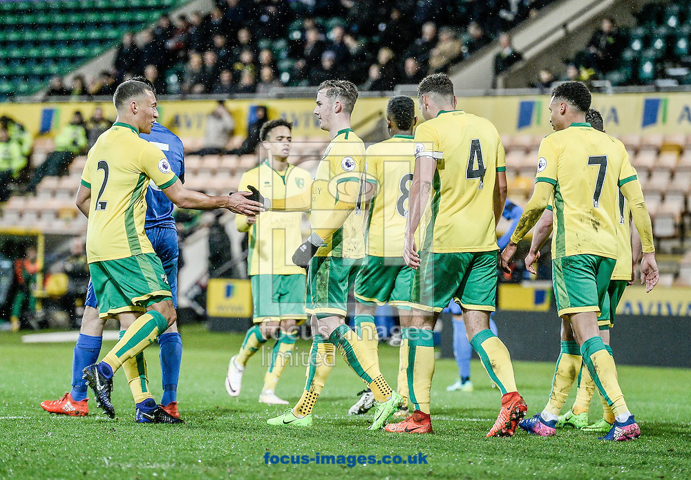 James Maddison celebrates the penalty for Norwich City U23 against Dinamo Zagreb U23 during the Premier League International Cup Quarter-Final match at Carrow Road, Norwich<br /> Picture by Matthew Usher/Focus Images Ltd +44 7902 242054<br /> 27/02/2017