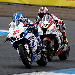 MCE BRITISH SUPERBIKE CHAMPIONSHIP Round Four Knockhill..Josh Brookes leads from Shane Byrne in the first race of the day at Knockhill in the BSB championship ....(c) STEPHEN LAWSON | StockPix.eu