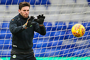 Forest Green Rovers goalkeeper James Montgomery warming up during the EFL Sky Bet League 2 match between Oldham Athletic and Forest Green Rovers at Boundary Park, Oldham, England on 12 January 2019.