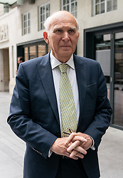 © Licensed to London News Pictures. 19/05/2019. London, UK. Leader of the Liberal Democrats Sir Vince Cable speaks to media as he leaves BBC Broadcasting House after appear on The Andrew Marr Show this morning. Photo credit : Tom Nicholson/LNP
