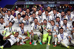 Real Madrid's captain Sergio Ramos and his team-mates with the UEFA European Super Cup trophy
