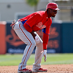 Mar 3, 2013; Sarasota, FL, USA; Philadelphia Phillies left fielder John Mayberry Jr. (15) against the Baltimore Orioles during the top of the second inning of a spring training game at Ed Smith Stadium. Mandatory Credit: Derick E. Hingle-USA TODAY Sports