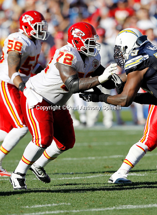 Kansas City Chiefs defensive end Glenn Dorsey (72) blocks during the NFL week 14 football game against the San Diego Chargers on Sunday, December 12, 2010 in San Diego, California. The Chargers won the game 31-0. (©Paul Anthony Spinelli)
