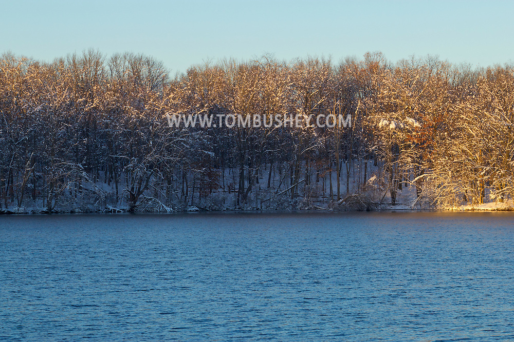 Monroe, New York - Afternoon light on snow-covered trees on  Nov. 28, 2014.