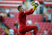 Liverpool goalkeeper Adrian (13) warming up during the Premier League match between Liverpool and Arsenal at Anfield, Liverpool, England on 24 August 2019.