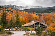 I felt very lucky to witness some of the first snow of the season at Pinkham Notch. The visitor center holds happy memories for me, and I'm sure many others, as the gateway to some of the most spectacular mountain scenery in the world. The clouds lifted just enough to reveal the snow in the craggy bowl of Tuckerman's Ravine, and below the signs that fall was quickly departing. I'm grateful to have been able to travel extensively this fall, although of course I wish I was in many places at once!