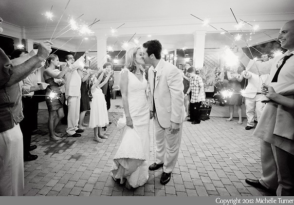A sparkler exit from a French's Point Wedding.  Image by Maine Wedding Photographer Michelle Turner.