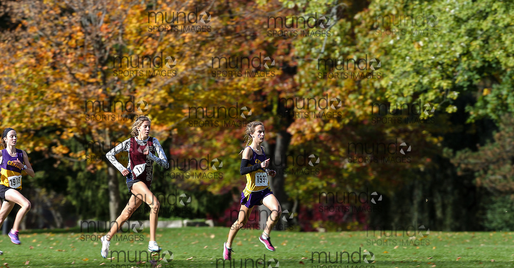 Charlotte Prouse of London Central runs in the senior girls race at the 2013 WOSSA Cross country meet in London Ontario, Thursday,  October 24, 2013.<br /> Mundo Sport Images/ Geoff Robins