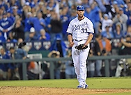 Kansas City Royals starting pitcher James Shields (33) reacts against the Los Angeles Angels after the final out of the top of the sixth inning in game three of the 2014 ALDS baseball playoff game at Kauffman Stadium.