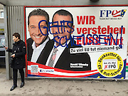 Vienna, Austria. EU election posters and billboards. FPÖ (right wing). H.C. Strache (l.), Harald Vilimsky.