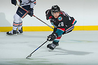KELOWNA, CANADA - SEPTEMBER 5: Leif Mattson #28 of the Kelowna Rockets attempts to block a pass by the against the Kamloops Blazers on September 5, 2017 at Prospera Place in Kelowna, British Columbia, Canada.  (Photo by Marissa Baecker/Shoot the Breeze)  *** Local Caption ***