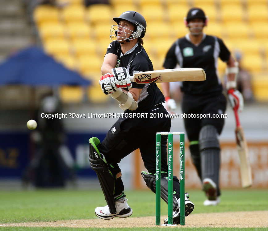 NZ's Shane Bond bats.<br /> Fifth Chappell-Hadlee Trophy one-day international cricket match - New Zealand v Australia at Westpac Stadium, Wellington. Saturday, 13 March 2010. Photo: Dave Lintott/PHOTOSPORT
