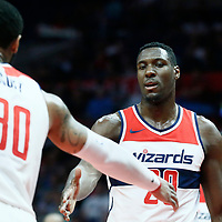 09 December 2017: Washington Wizards forward Mike Scott (30) congratulates Washington Wizards center Ian Mahinmi (28) during the LA Clippers 113-112 victory over the Washington Wizards, at the Staples Center, Los Angeles, California, USA.