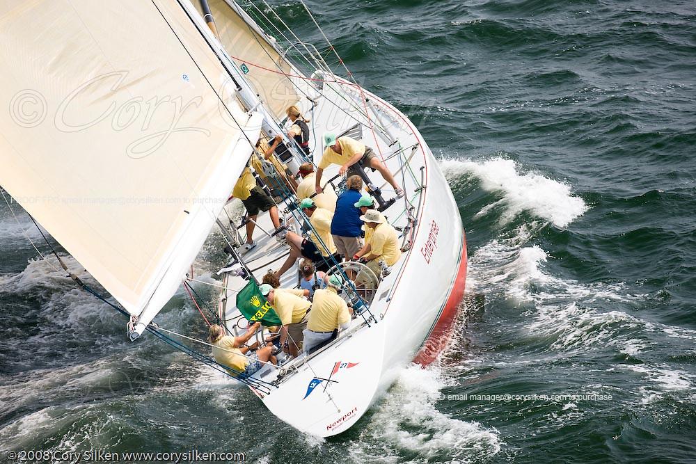 Enterprise, 12 Meter Class, racing at the New York Yacht Club Race Week.