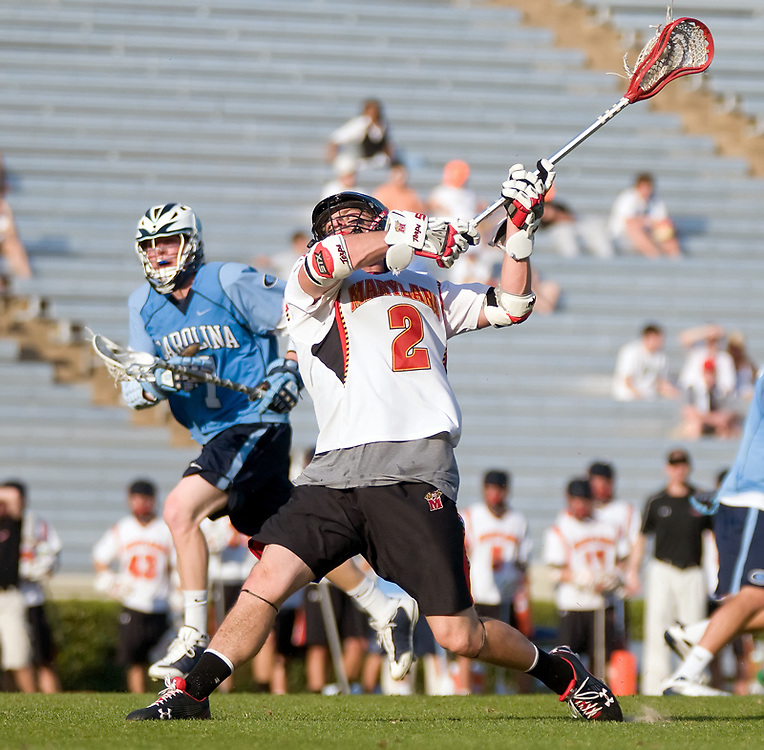 24 April 2009:Marylands senior middie #2 Dan Groot cranks a shoot on goal.