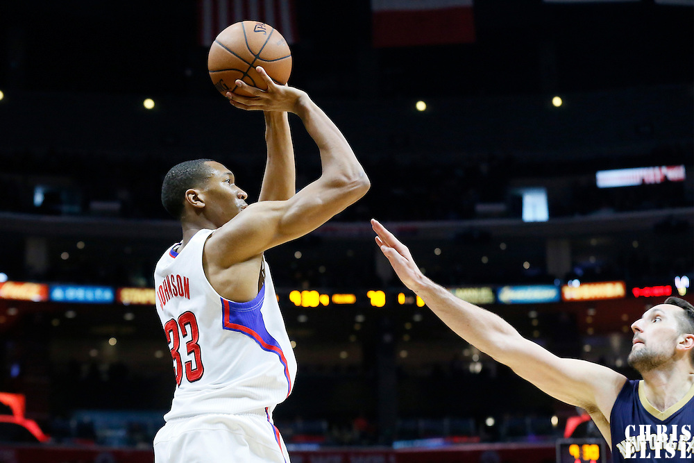 10 January 2016: Los Angeles Clippers forward Wesley Johnson (33) takes a jump shot over New Orleans Pelicans forward Ryan Anderson (33) during the Los Angeles Clippers 114-111 overtime victory over the New Orleans Pelicans, at the Staples Center, Los Angeles, California, USA.