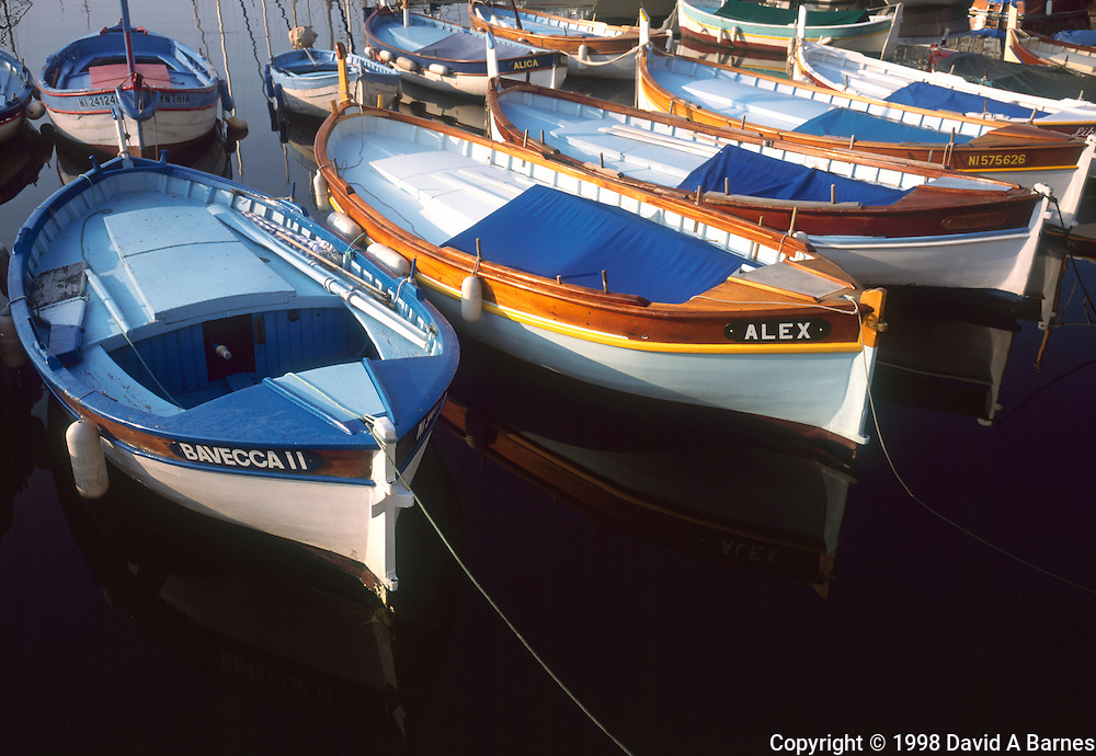 Traditional wooden fishing boats, Riviera, France