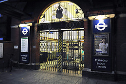 STAMFORD BROOK WEST LONDON. Closed Tube station. Millions of Londoners face disruption after Tube staff started a 24-hour strike in protest at plans to reduce ticket office staffing. The strike the second in recent months began at 1830 BST. 03 October 2010.